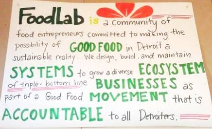 FoodLab's principles and mission on paper.
