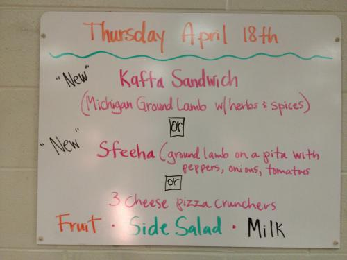 East Kentwood High School's menu featuring Michigan ground lamb dishes. Photo by Stephanie Marino.