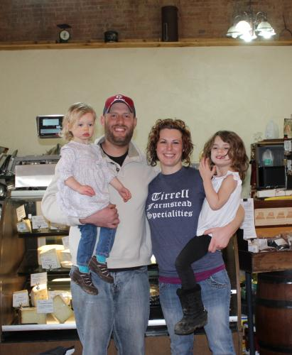 Ben and Jessie Tirrell and family at  the Tirrel Farmstead Specialties store (taken by Jude Barry, CRFS)