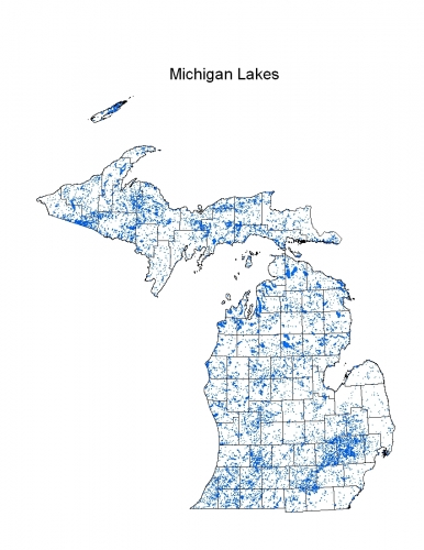 Map of inland lakes across the state of Michigan