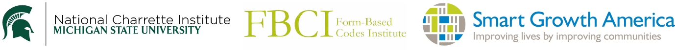 Combined logo for the National Charrette Institute, the Form-Based Code Institute and Smart Growth America