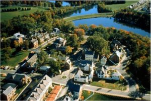 Aerial photo of the Kentlands in Gaithersburg, MD.