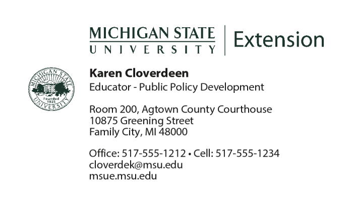 Figure 1 Sample Business Card Format For All Msu Extension Staff The Cards Of District Coordinators Also Have Text On Back