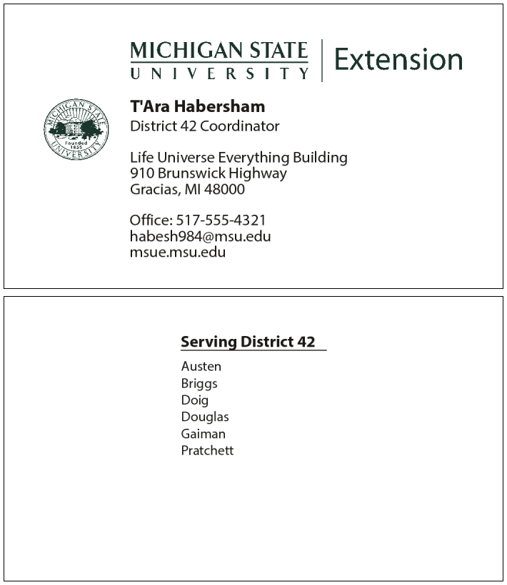 Business cards organizational development figure 2 sample business card format for msu extension district coordinators the top image shows the card front while the bottom image shows the card accmission Choice Image