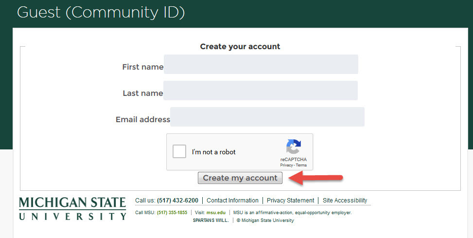 Community ID Account Creation Page