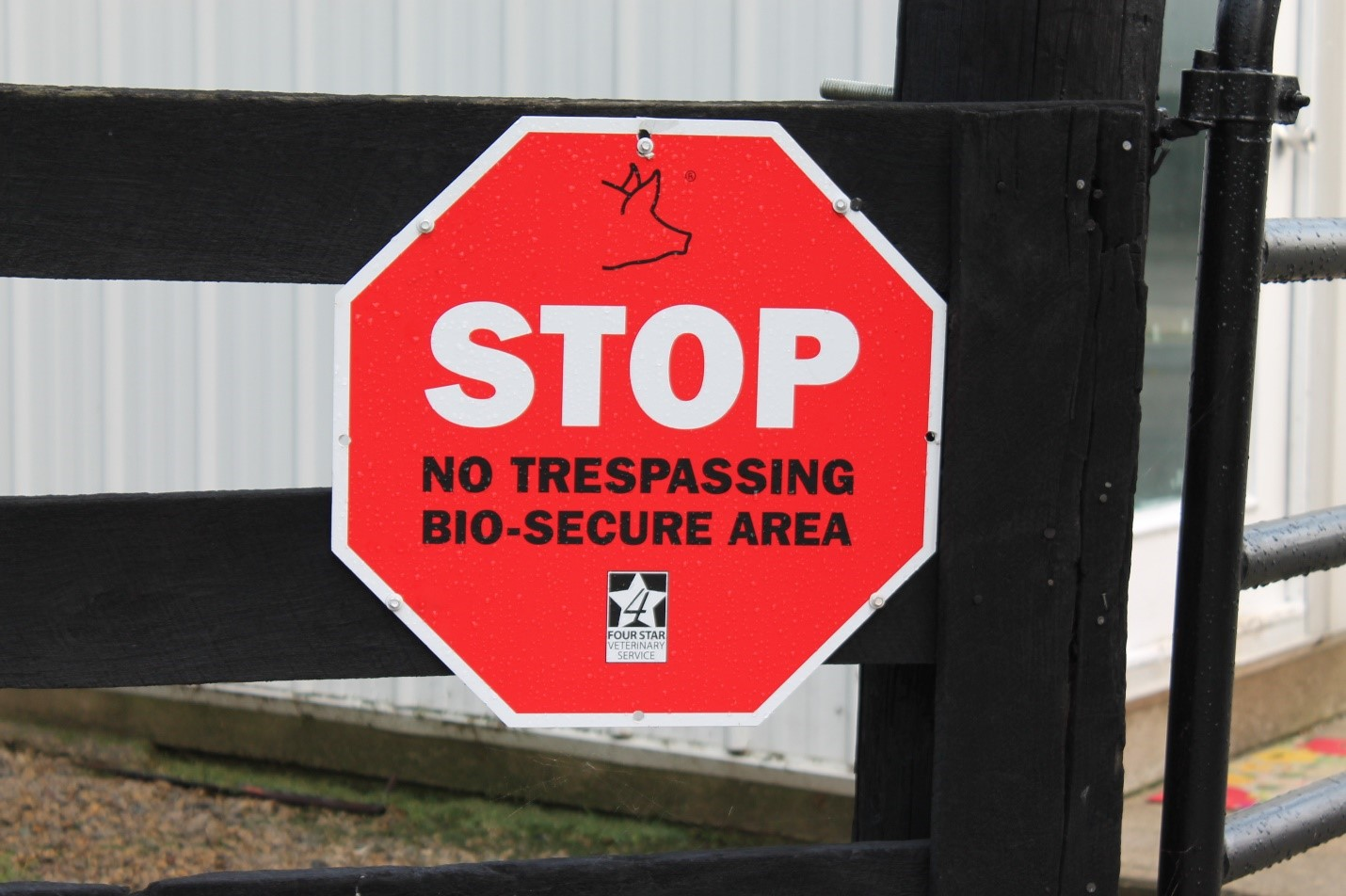 biosecurity sign provided by National Pork Board