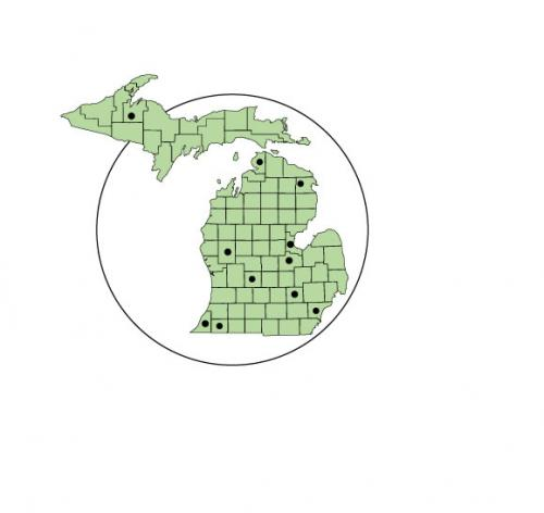 Map of counselors in Michigan