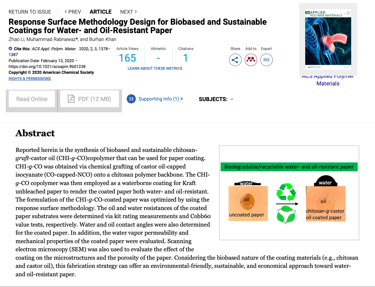 Response Surface Methodology Design for Biobased and Sustainable Coatings for Water- and Oil-Resistant Paper