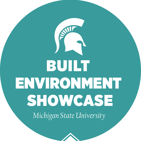 MSU Shield graphic showcasing the Built Environment Showcse.