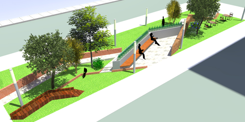 Rendering for a Washington Boulevard park in Detroit.