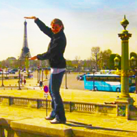 Student and Eiffel Tower in Paris Photo