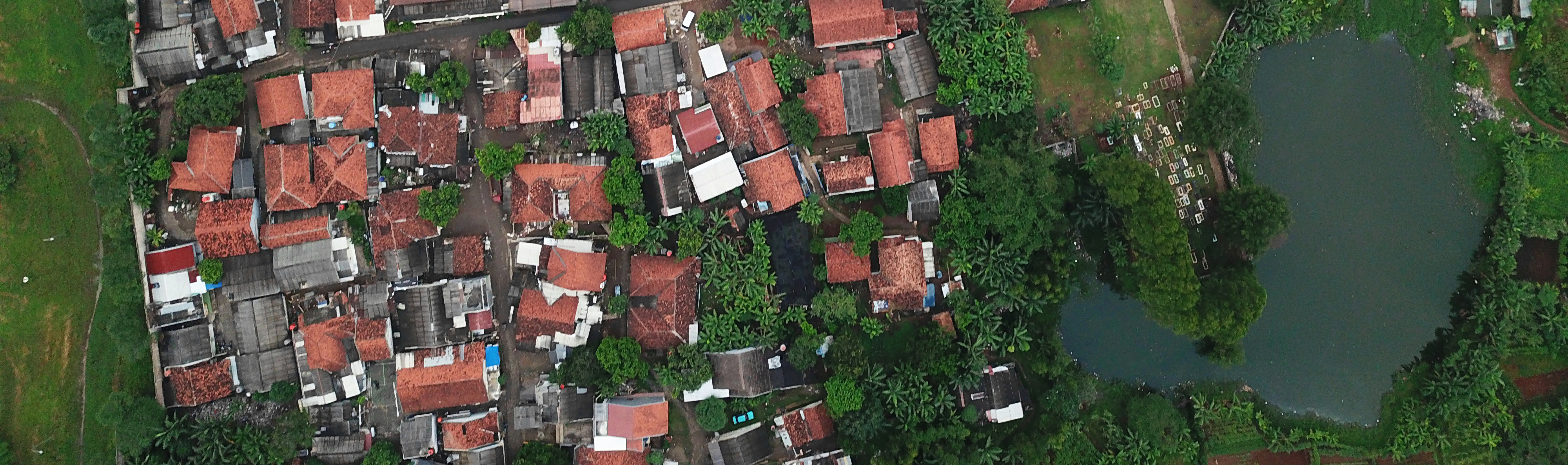 Aerial shot of houses in Indonesia.