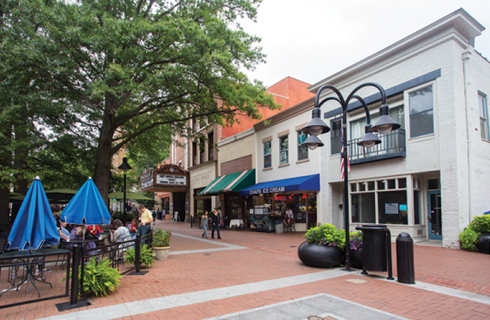 Historic downtown pedestrian mall in Charlottesvill, Virginia.