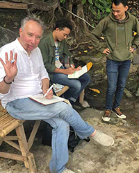 Jon Burley also went to visit the Indian Ocean for the first time and had a change to sketch with some students from Indonesia.