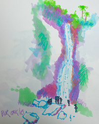 During the trip Jon Burley had a chance to visit a Volcano in Indonesia and drew this image of a waterfall.