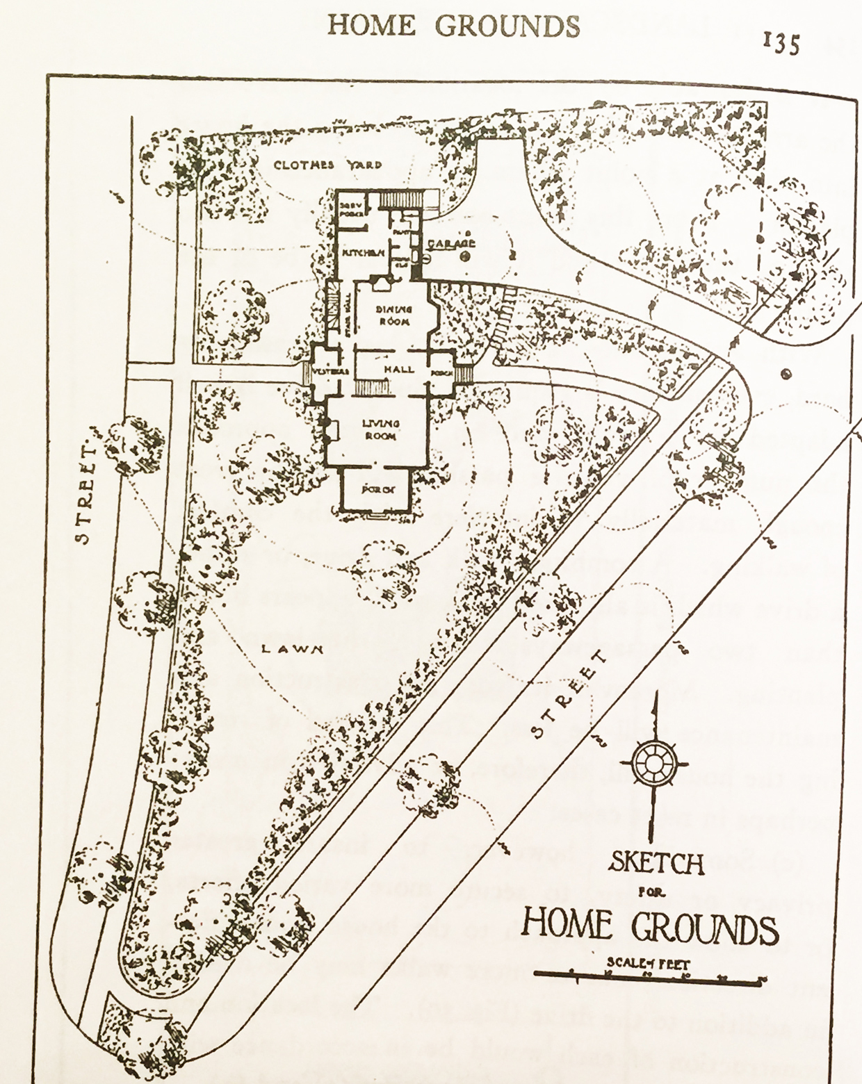 "A drawing called ""Home Grounds"" from Simonds (1920, page 123), illustrating the relationship between structure, a residential landscape, and an adjoining golf course (copyright expired, public domain)."