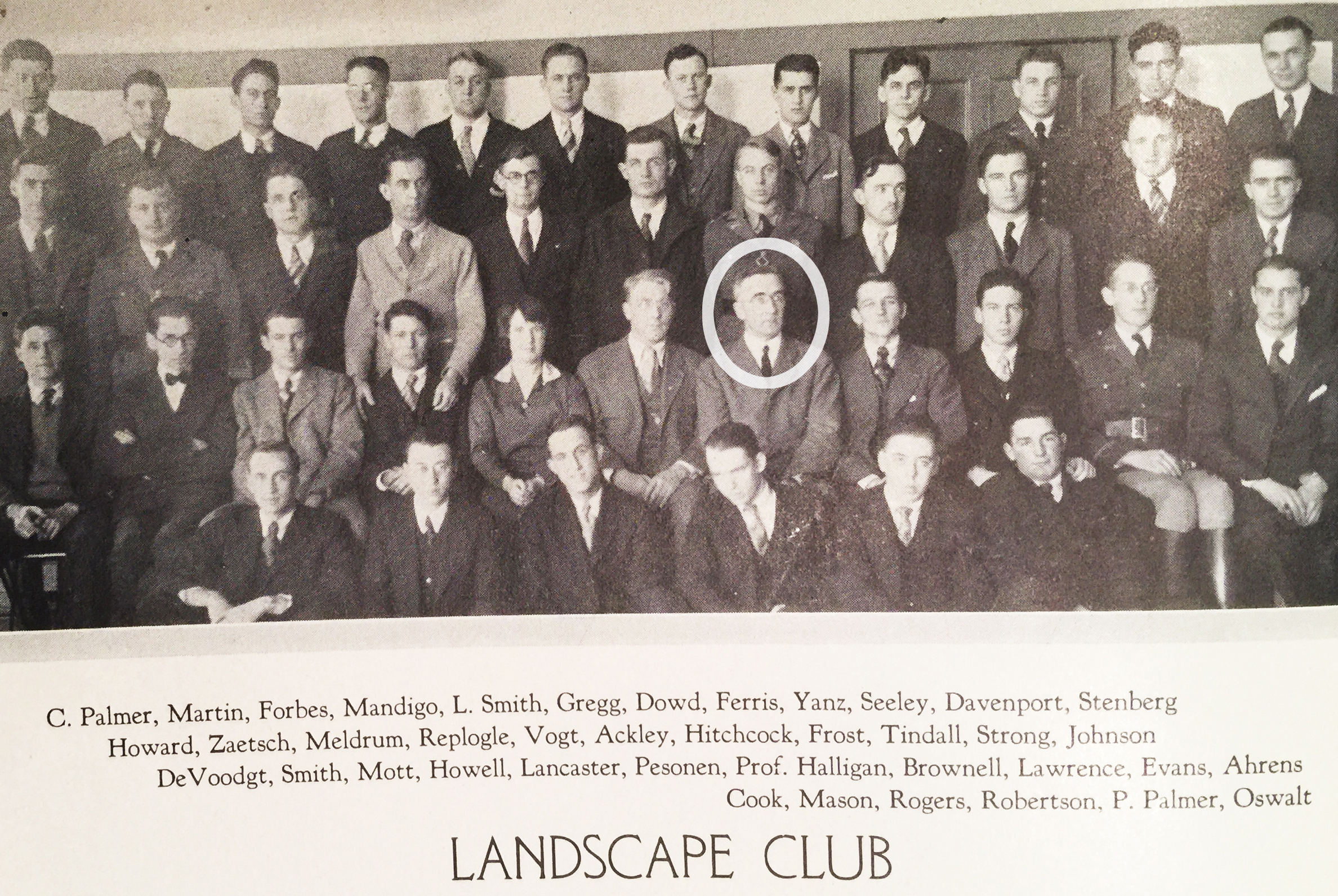 A photograph of the Landscape Architecture Club including Professor Charles Halligan circled in white.