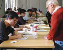 Bill Johnson in design studio with students.