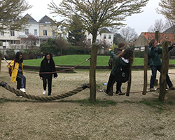 Students at a playground in Delft, Netherlands.