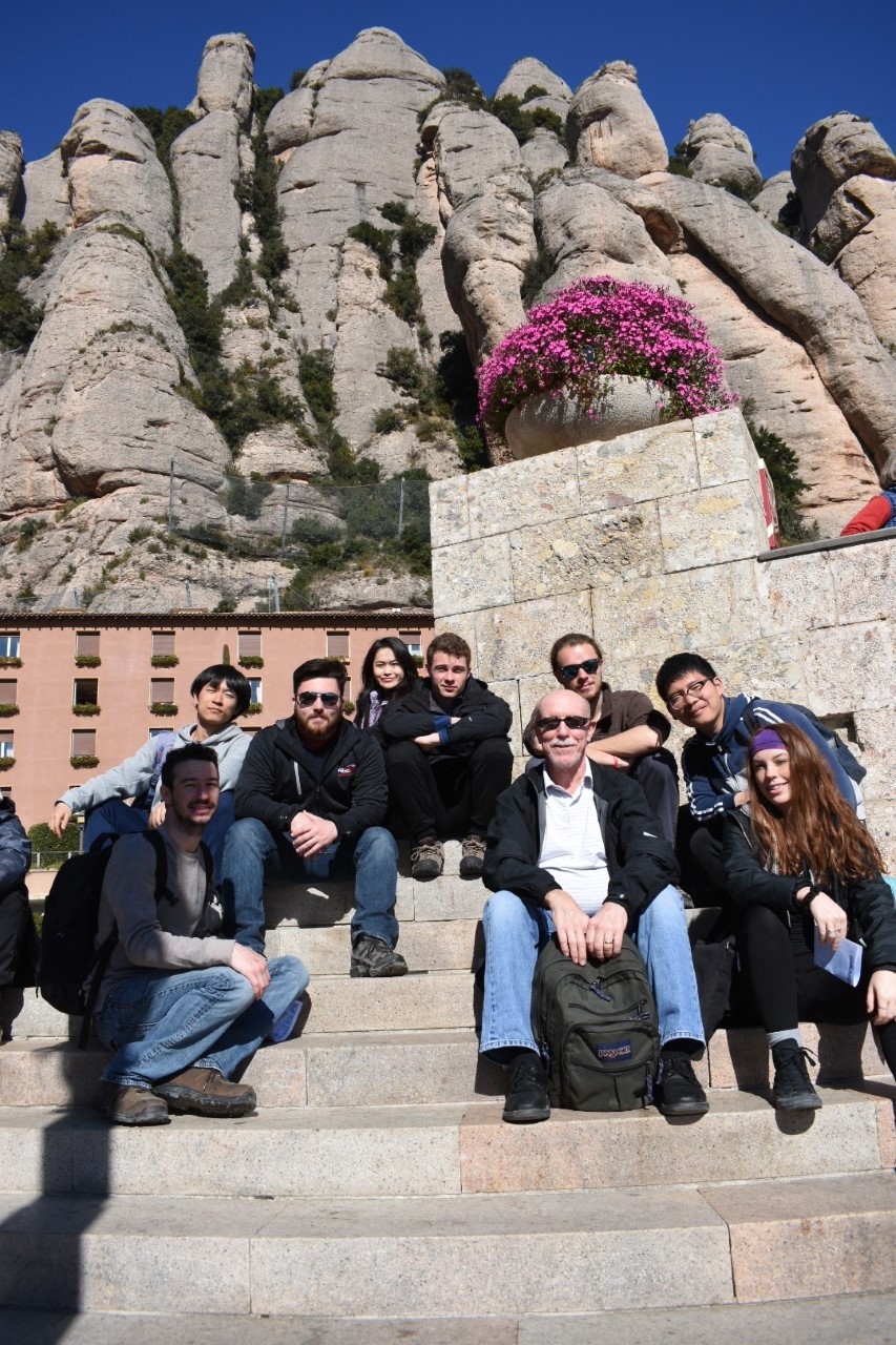 Group shot of students and faculty at Montserrat in Spain.