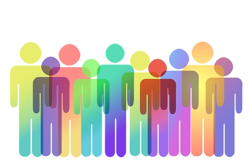 Graphic of rainbow colored people overlapping.