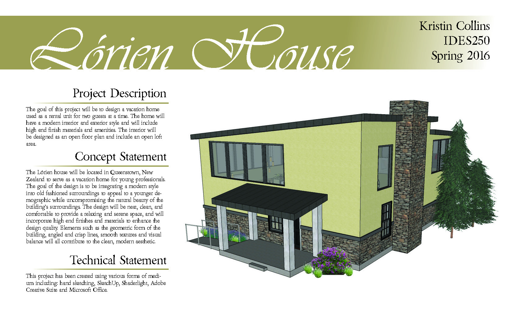 Features A Project Description Concept Statement Technical And Perspective Rendering Of The With Interior Design