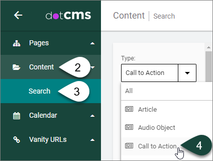 call action right create select corner dots triple upper vertical button different types shows