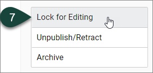 Shows the Lock for Editing button that should be selected to enable editing for the event.