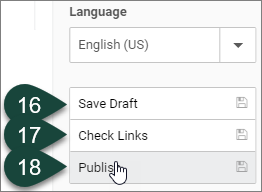 Shows the publishing buttons available to select, including Save Draft, Check Links and Publish.
