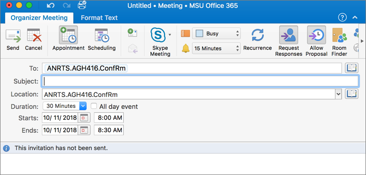 Room scheduling office 2016 for macs