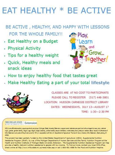 Eat Healthy, Be Active at Hudson Carnegie District Library ...