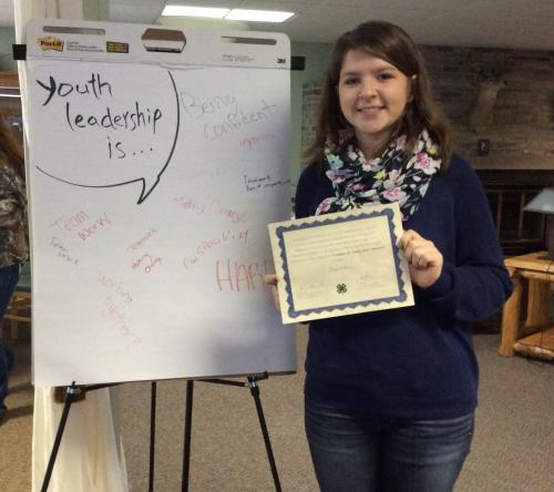 Alpena County 4-H member at leadership training