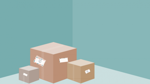 'Image of three boxes stacked in corner of empty room'