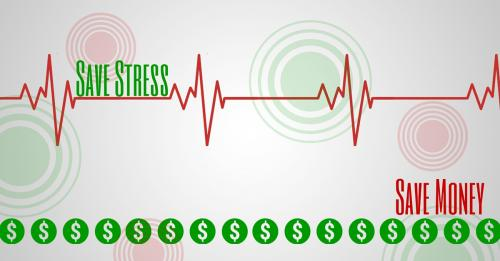 'Image of red heartbeat line with the words Save Stress and Save Money in green'