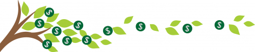 Image of tree branch with leaves and money symbols