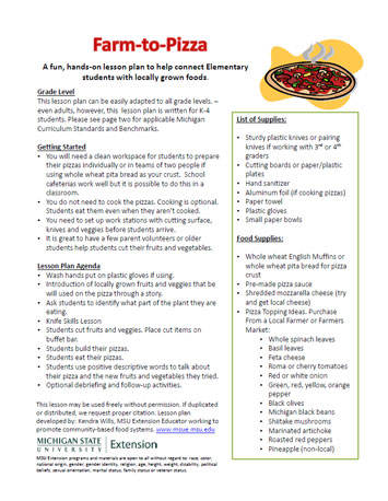 Farm-to-Pizza lesson plan - MSU Extension