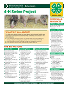 MI 4-H Swine Project Snapshot SheetThe 4-H swine project can provide youth with the opportunity to learn about selection, management, health, marketing and careers in the swine industry. This 4-H snapshot sheet covers what 4-H'ers can learn from a 4-H swine project, ways to get involved and resources for learning more. This is one in a series of Michigan 4-H snapshot sheets on a variety of topics. (2 pages, 2013)  Michigan 4-H Swine Project Snapshot (4H1618)