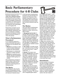 Basic Parliamentary Procedure for 4-h Clubs