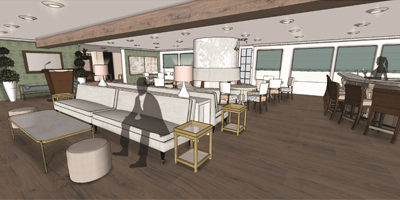 Proposed Entertaining Space Rendering by MSU Interior Design Students