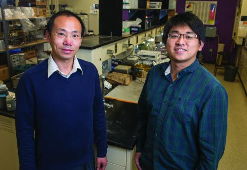 SU assistant professor with the  Department of Plant, Soil and Microbial Sciences  Wei Zhang and graduate student Cheng-Hua Liu are  working together on a project that utilizes biochar made from animal manure.
