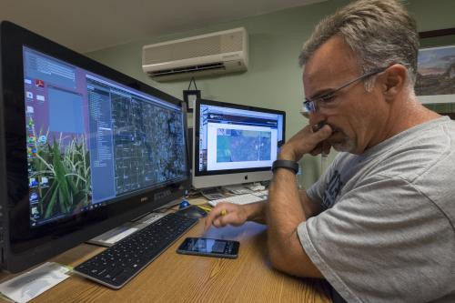 Technology is a crucial piece of Jeff Sandborn's farming operation. From reviewing aerial imagery of his fields on a computer to smartphones and a smartwatch, Sandborn uses several gadgets that increase efficiency.
