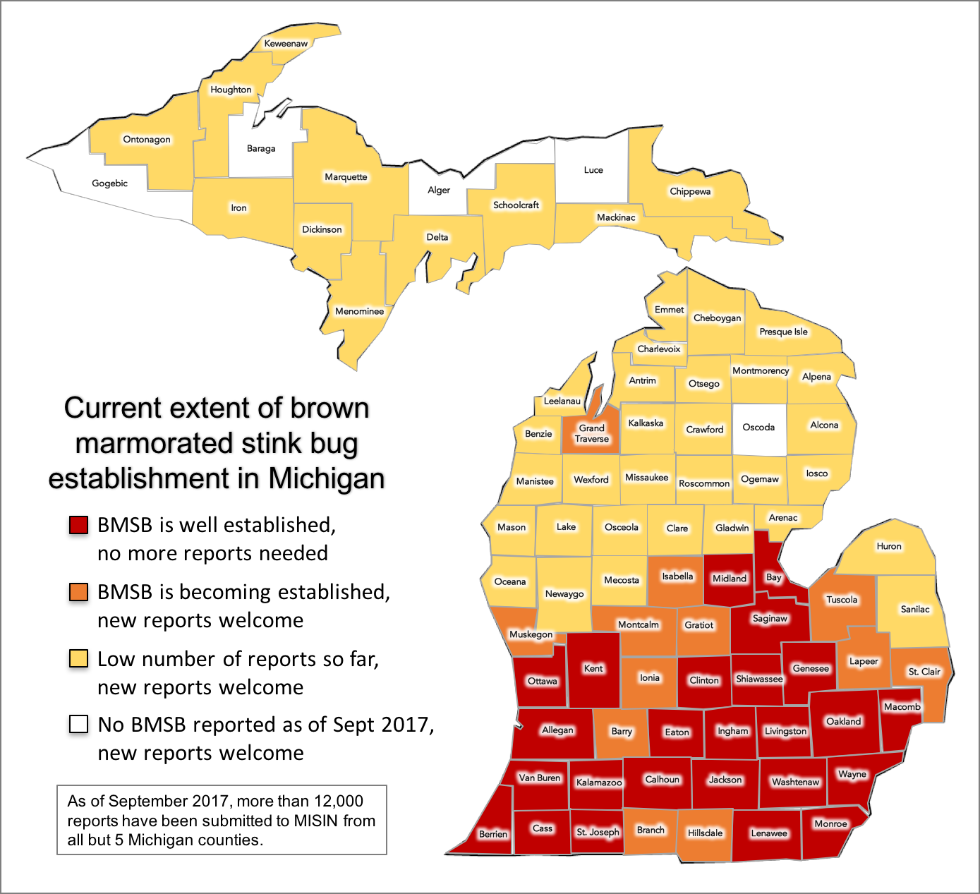 Brown Marmorated Stink Bugs Are Moving Into Michigan Homes Again - Map of michigan counties