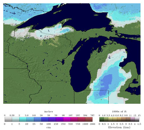 Snow depth for the Great Lakes Region on 11-30-11