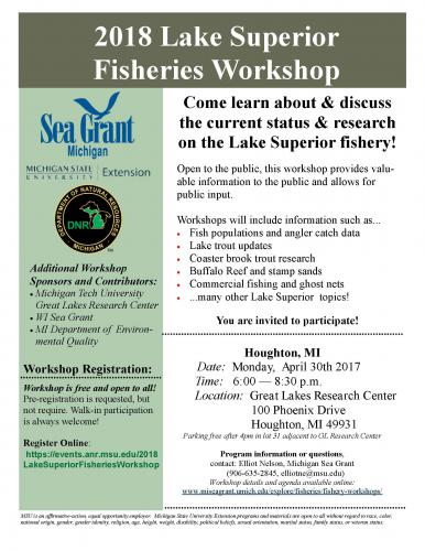 flyer describes locations and dates for annual fishery workshops