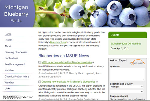 Michigan Blueberry Facts website