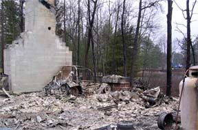This Michigan home near Grayling was destroyed by a passing wildfire.