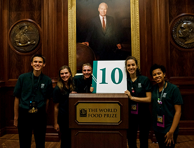 Andrew Smith (left) with other delegates at the 2016 World Food Prize Global Youth Institute