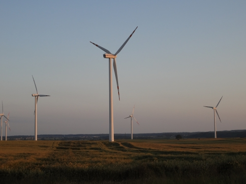 Wind turbines in Poland used to generate electricity.