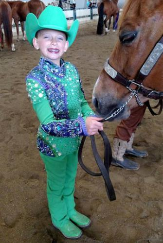 Colorful horse show outfit