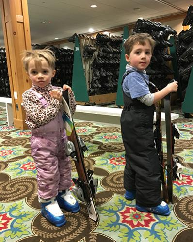 Kids in skiing gear